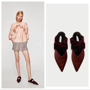 Zara Velvet Backless Slide